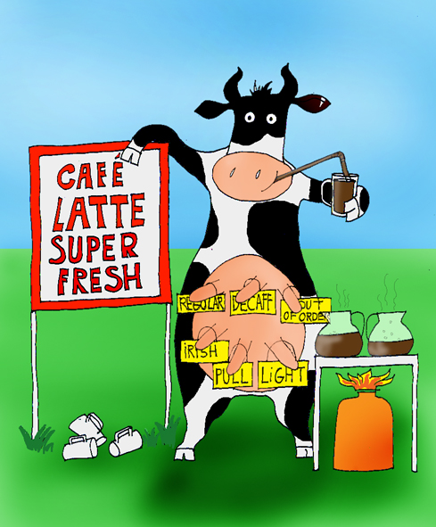 joke drawing cafe latte fresh milk